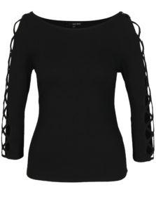 Čierne tričko so šnurovaním na rukávoch TALLY WEiJL