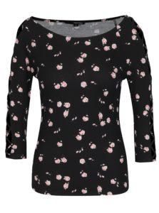 Čierne kvetované tričko so šnurovaním na rukávoch TALLY WEiJL