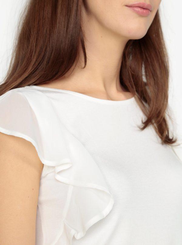 Krémové tričko s volánmi M&Co