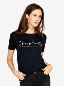 Tmavomodré tričko s potlačou VERO MODA Sola