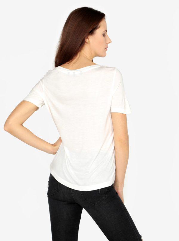 Krémové tričko s potlačou a výšivkou VERO MODA Sola