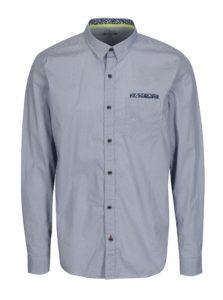 0e2d31d51ebe Modrá pánska vzorovaná slim fit košeľa s náprsným vreckom s.Oliver
