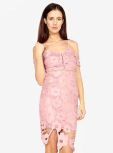 Ružové čipkované puzdrové šaty MISSGUIDED
