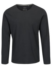 Tmavosivé pánske slim fit basic tričko s.Oliver