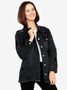 Čierna dlhá rifľová bunda s roztrhaným efektom MISSGUIDED