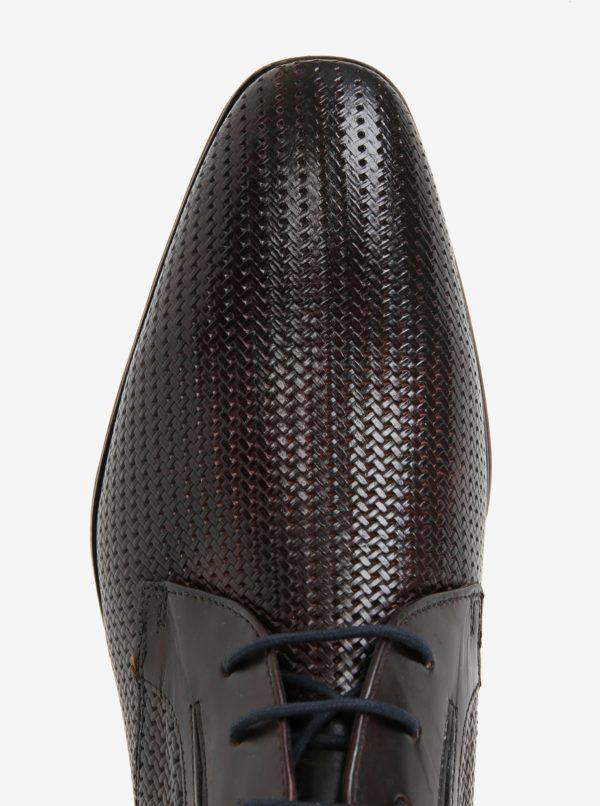 Tmavohnedé pánske kožené poltopánky bugatti Mosario