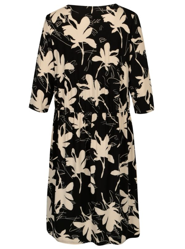 Čierne kvetované šaty s 3/4 rukávom Ulla Popken