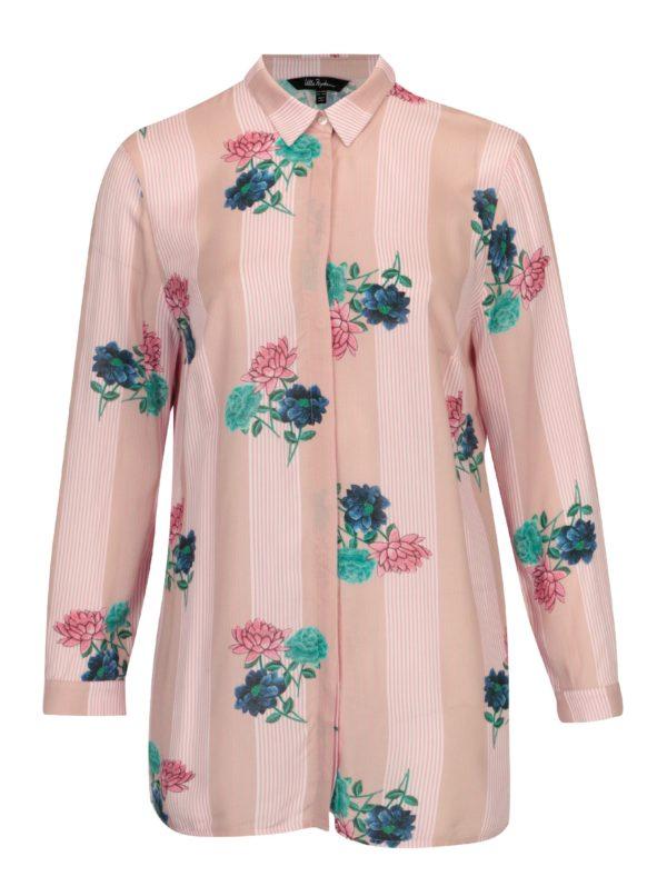 Ružová kvetovaná košeľa s dlhým rukávom Ulla Popken