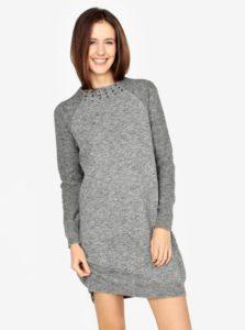 c1849e82e633 Sivé melírované svetrové šaty s dlhým rukávom s.Oliver