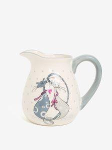 Sivo-krémový keramický džbán s motívom mačiek Dakls