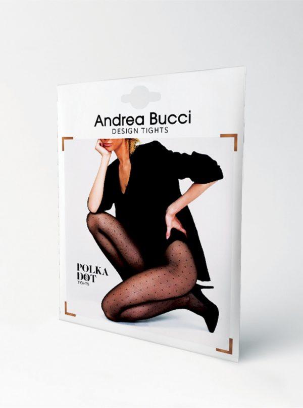 Čierne bodkované pančuchové nohavice Andrea Bucci Polka Dot