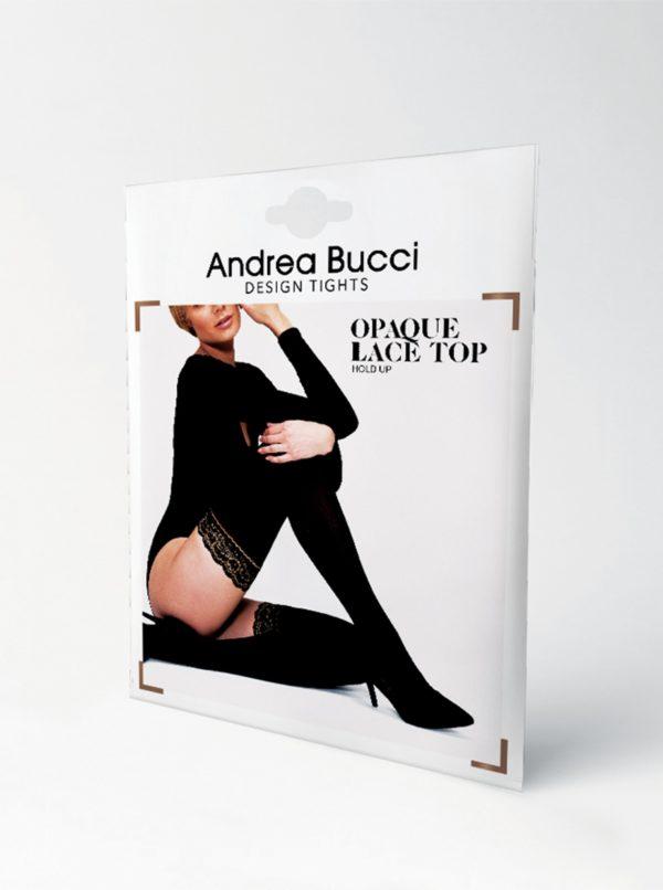 Čierne samodržiace pančuchy Andrea Bucci Lace Top 50 DEN