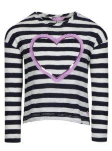 Tmavomodré dievčenské pruhované tričko s nášivkou Tom Joule Cora