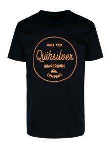 Tmavomodré pánske regular fit tričko s potlačou Quiksilver