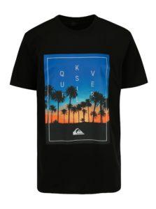 Modro-čierne pánske regular fit tričko s potlačou Quiksilver