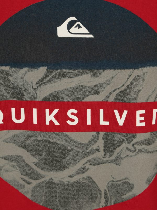 Sivo-červené pánske regular fit tričko s potlačou Quiksilver