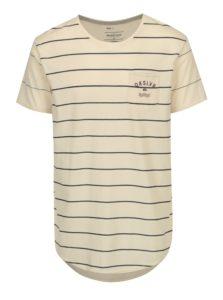 Modro–béžové pruhované loose fit tričko s náprsným vreckom Quiksilver