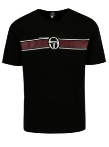 Čierne pánske tričko s potlačou Sergio Tacchini Laufen