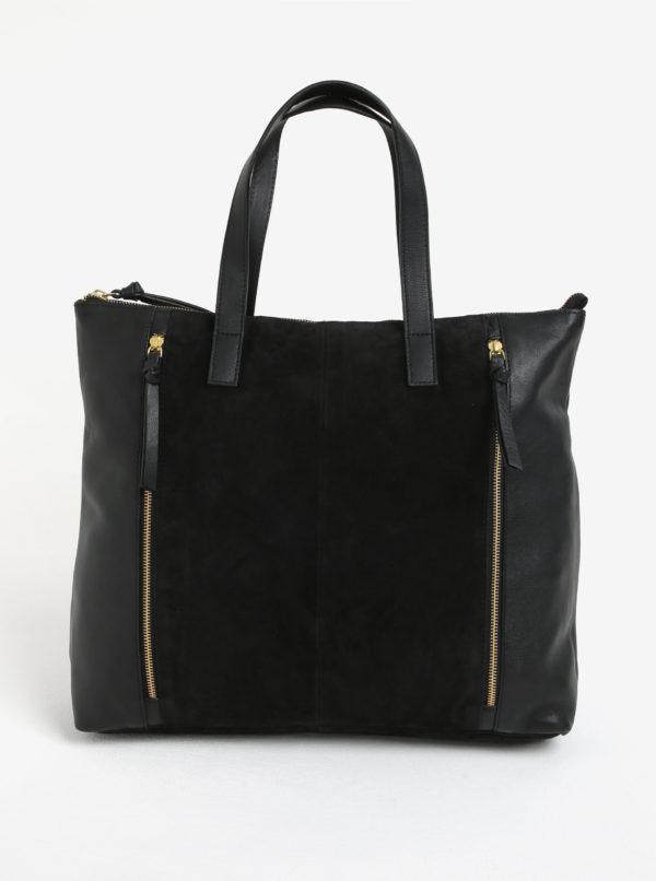Čierna kožená kabelka so semišovou časťou Pieces Ileana