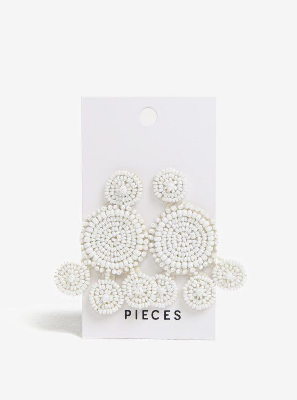 Biele náušnice z korálikov Pieces Manilla