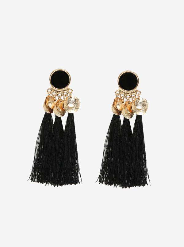 Čierne náušnice s detailmi v zlatej farbe Pieces Jamila