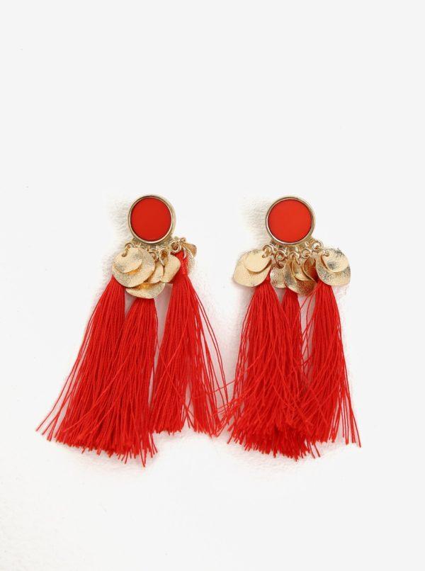 Červené náušnice s detailmi v zlatej farbe Pieces Jamila