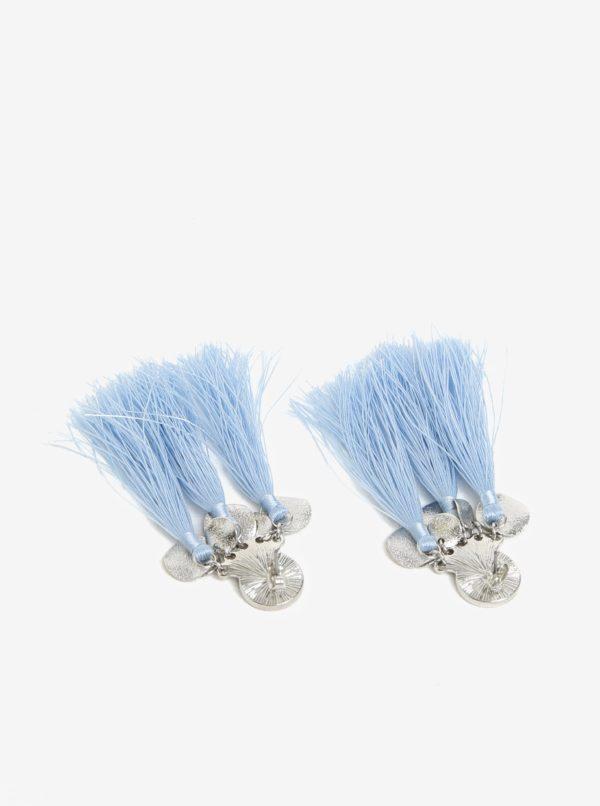 Modré náušnice s detailmi v striebornej farbe Pieces Jamila