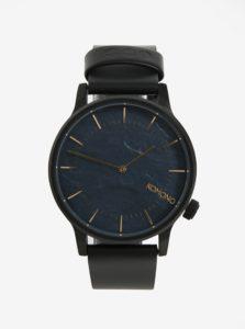 Čierne pánske hodinky s koženým remienkom Komono Winston