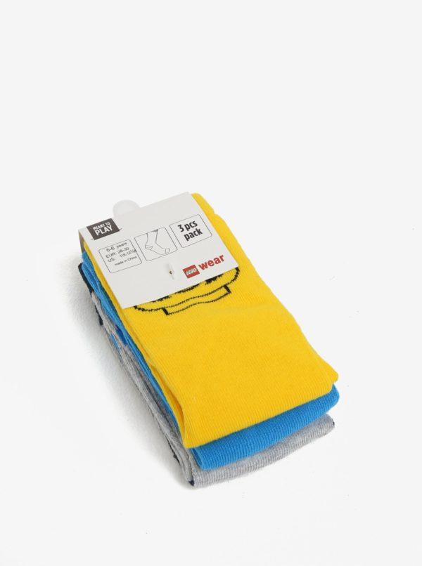 Súprava troch párov chlapčenských ponožiek v modrej, žltej a sivej farbe Lego Wear Aiden