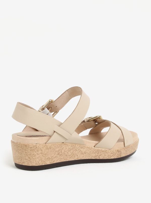 Béžové kožené sandále na klinovom podpätku Pikolinos Mykonos