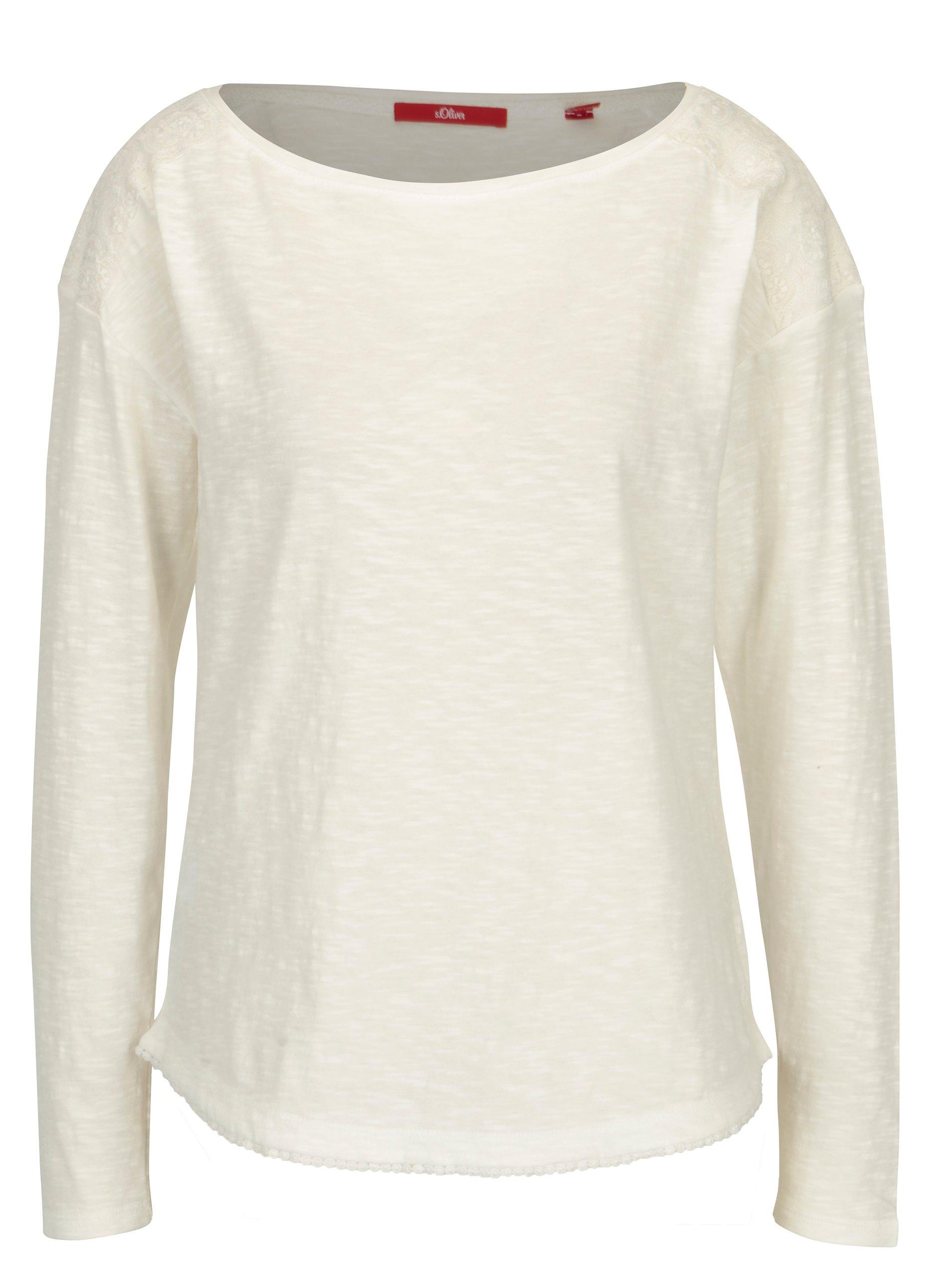 69b34204ea8f Krémové dámske oversize tričko s čipkovými detailmi s.Oliver