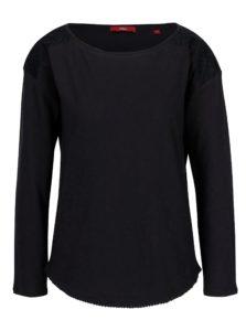 Tmavomodré dámske oversize tričko s čipkovými detailmi s.Oliver