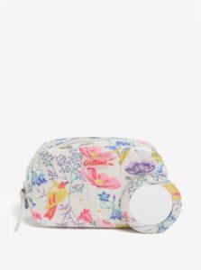 Krémová kvetovaná kozmetická taštička so zrkadielkom Cath Kidston