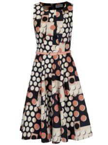 Tmavomodré vzorované šaty s opaskom Closet