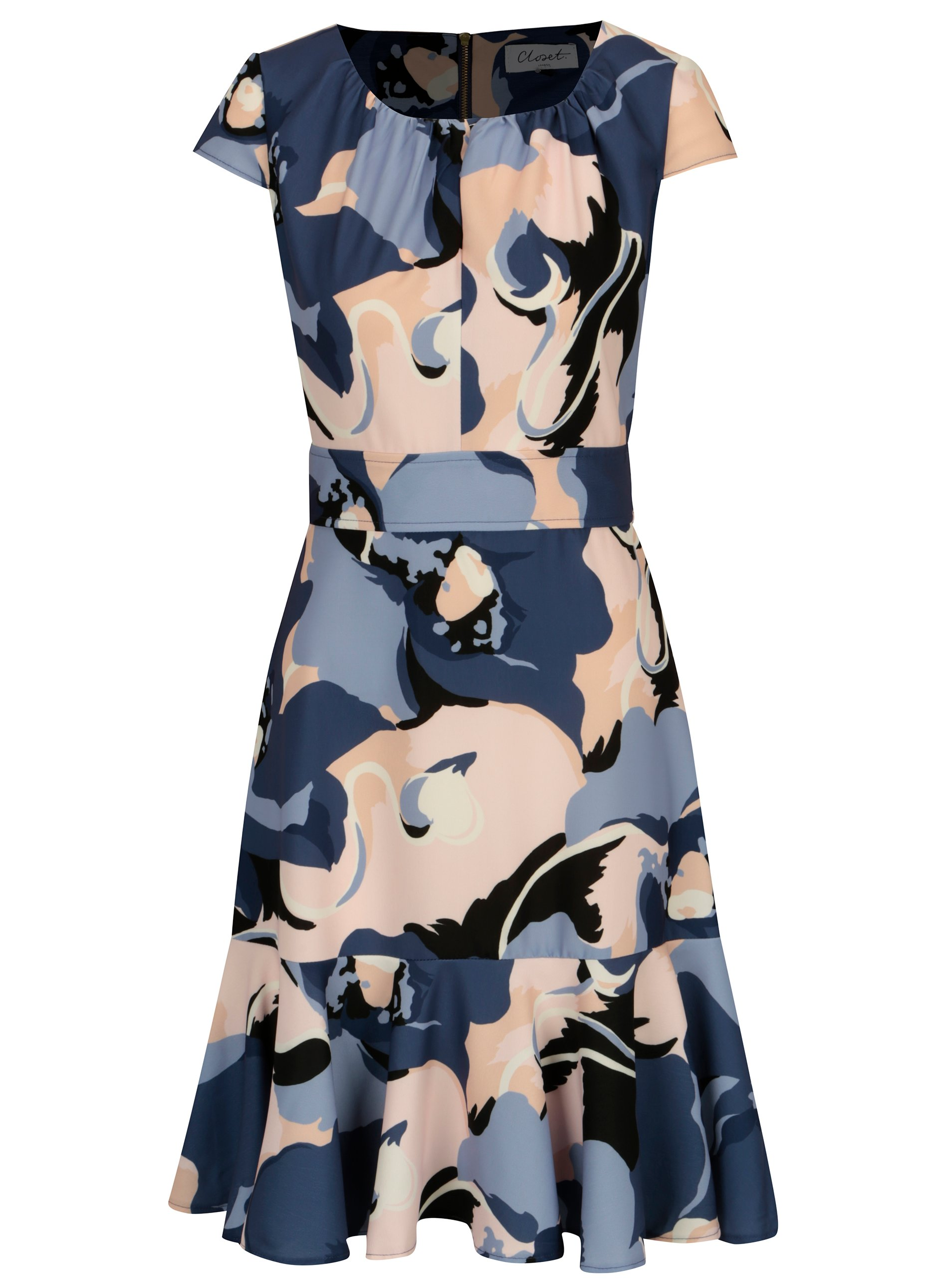 c8cf6e61f366 Modré vzorované šaty s volánom Closet