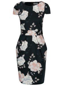 Tmavomodré puzdrové kvetované šaty Closet