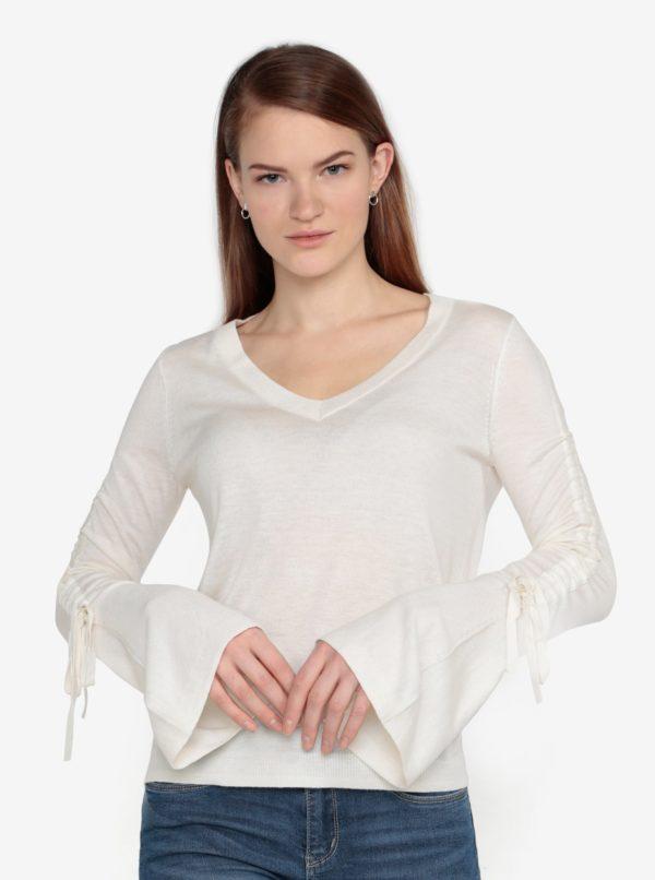 Krémový tenký sveter so zberkaním na rukávoch VERO MODA Adriana