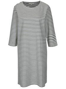 Modro–krémové pruhované šaty s 3/4 rukávom Selected Femme Ava