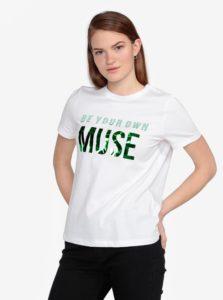 Biele tričko s potlačou VERO MODA Henny