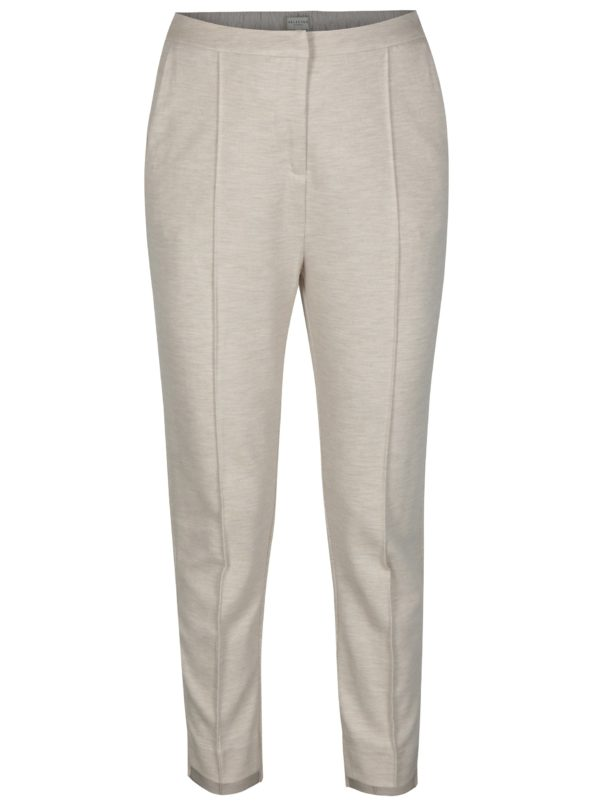 Béžové skrátené nohavice s vysokým sedom Selected Femme Sue