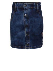 Modrá rifľová dievčenská sukňa s výšivkou a aplikáciou small rags Gerda