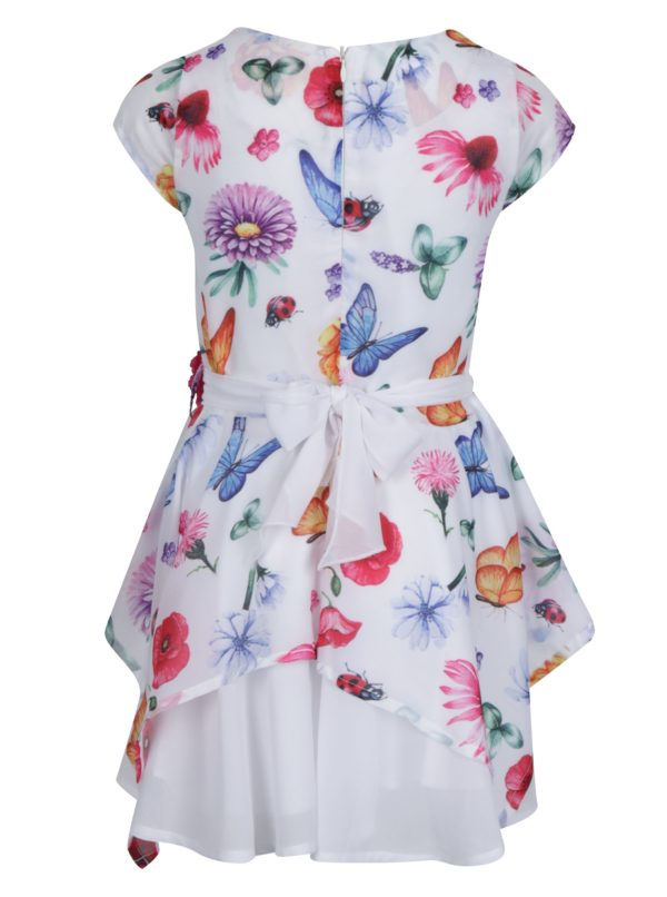 Biele kvetované dievčenské šaty s opaskom Norh Pole Kids