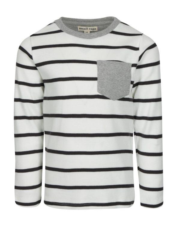Čierno-krémové pruhované chlapčenské tričko small rags Gustav