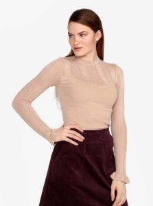Béžový rebrovaný sveter s volánmi na rukávoch Miss Selfridge