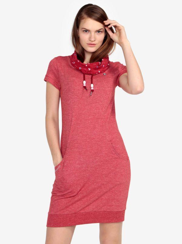 Červené melírované šaty s vysokým golierom Ragwear Dita
