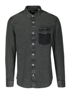 Tmavosivá rifľová regular košeľa ONLY & SONS Neville