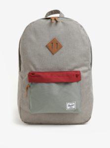 Červeno-sivý vzorovaný batoh Herschel Heritage 21,5 l