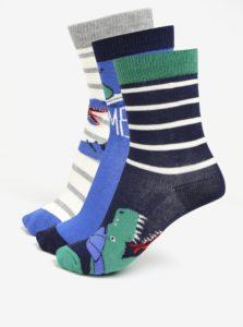 Súprava troch párov chlapčenských ponožiek s motívom dinosaura Tom Joule Brilliant