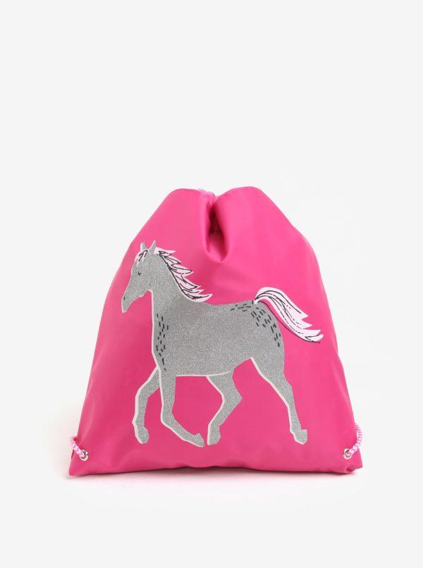 Ružový dievčenský vak s potlačou koňa Tom Joule Active
