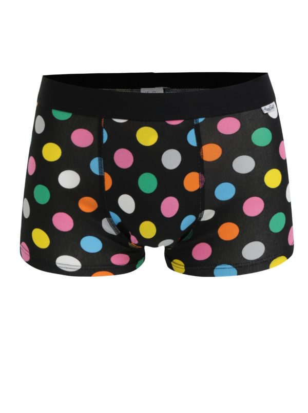 Súprava dvoch čiernych boxeriek s bodkami Happy Socks Big Dot